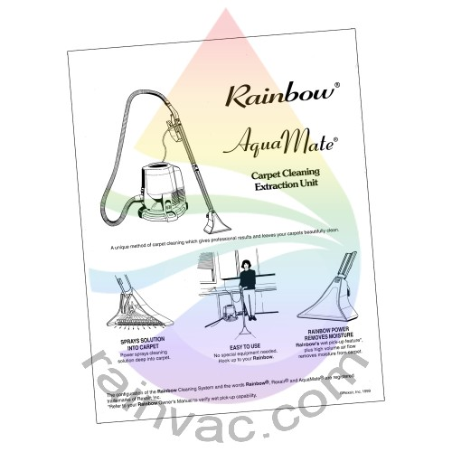 e series rainbow aquamate i manual english r10003 rh rainvac com Rainbow Aquamate 2-Handle Attachment Rainbow Aquamate E2