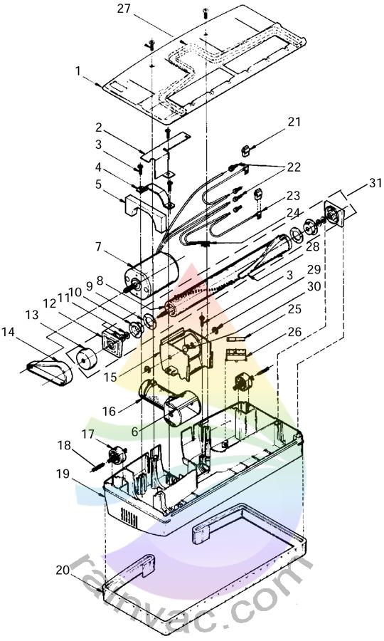 Power Nozzle R-1650C / R-1650A Internal View Schematics