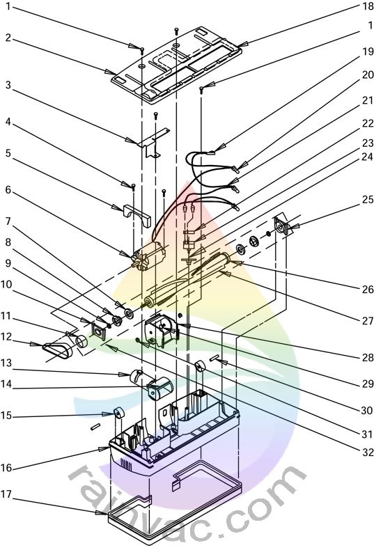 Rainbow Vacuum Power Nozzle R-4375C Internal View Parts