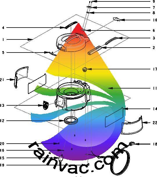 Rainbow Vacuum E-2 (e SERIES™) Version 2 Cap Assembly Parts