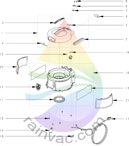 Rainbow Vacuum E-2 (e SERIES™) Version 1 Cap Assembly Parts
