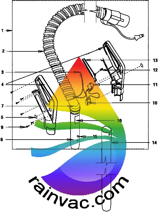 Rainbow Power Nozzle PN-2 PE Series Electric Hose Schematics